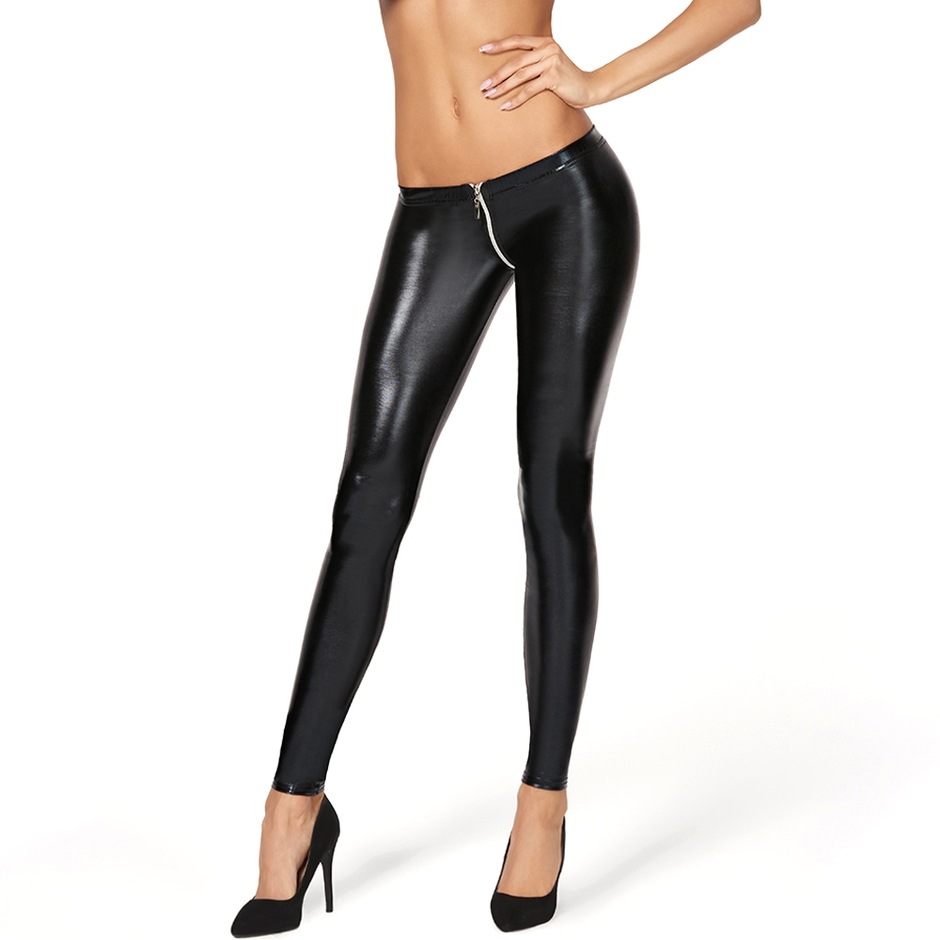 7Heaven Black Wet Look Zip Around Leggings