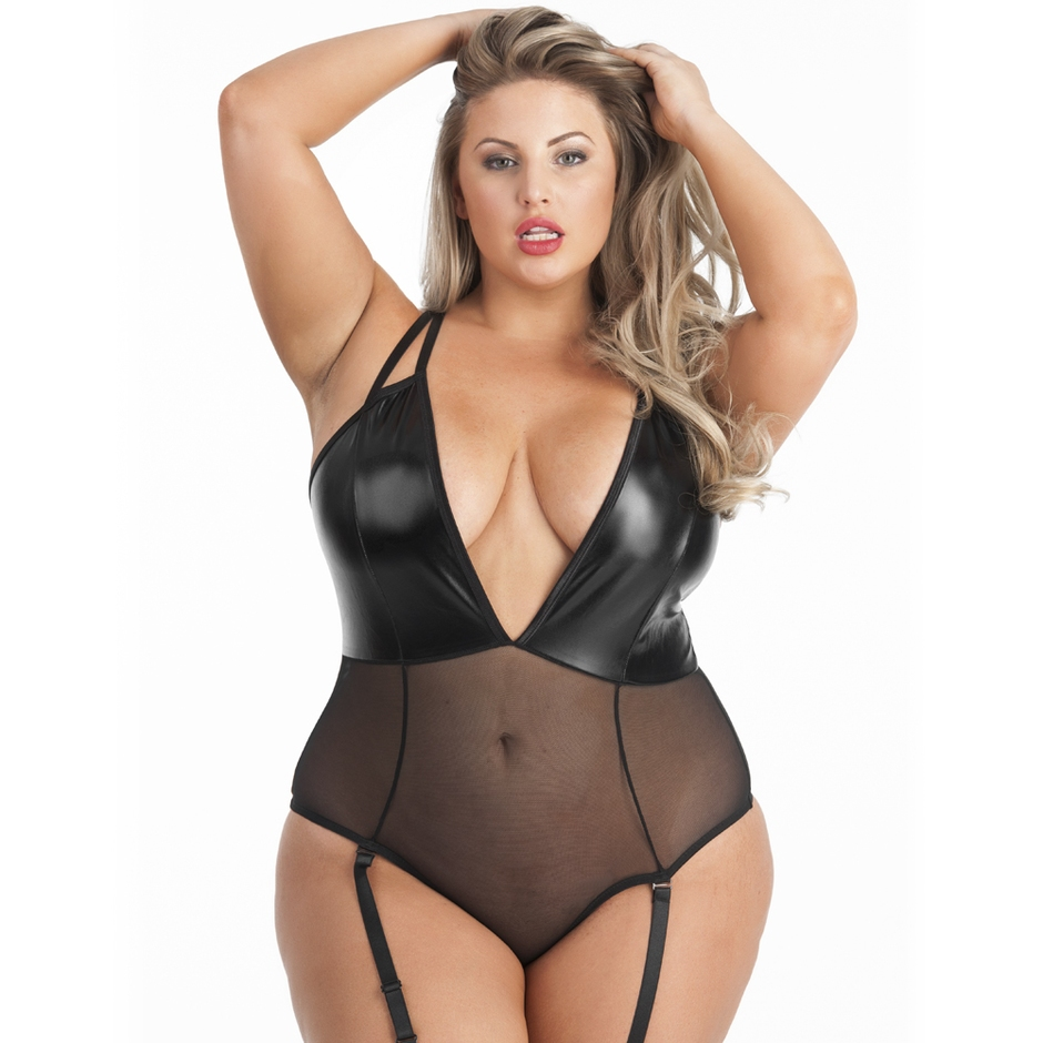 Lovehoney Plus Size Fierce Wet Look and Sheer Deep Plunge Body