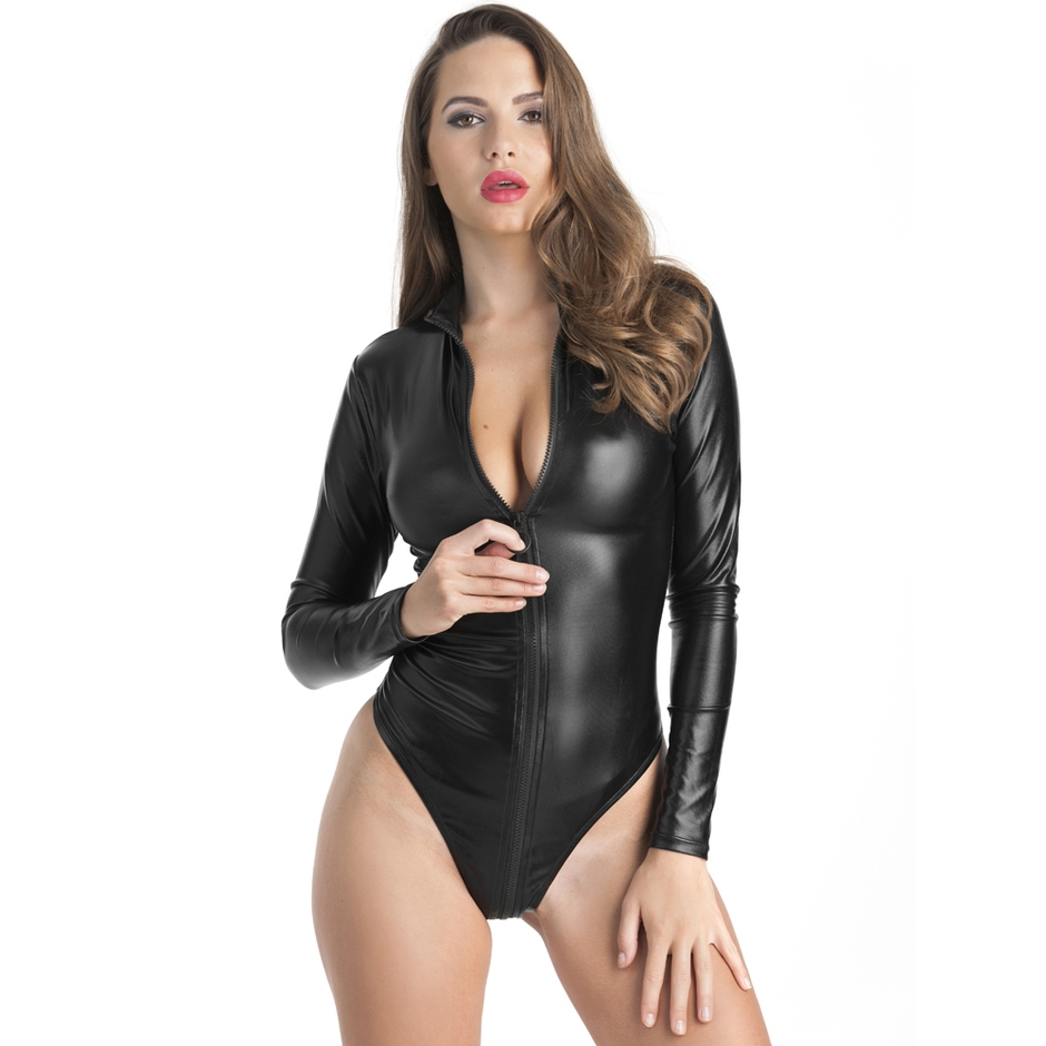 Lovehoney Fierce Wet Look Long Sleeve Zip-Around Teddy