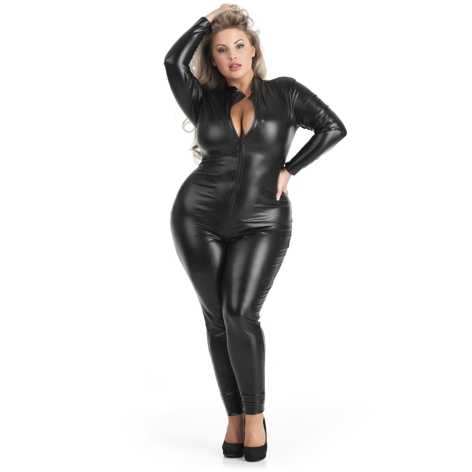 Lovehoney Plus Size Fierce Wet Look Zip-Around Catsuit