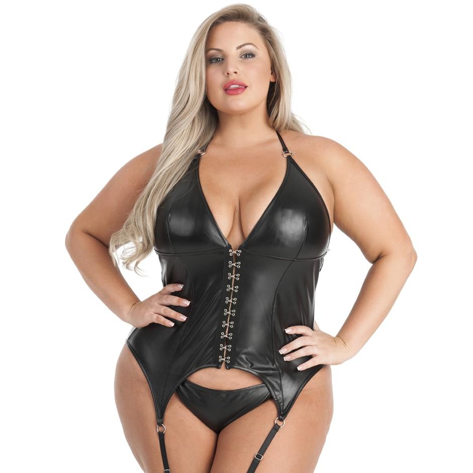 Lovehoney Fierce Leather-Look Halterneck Bustier Set