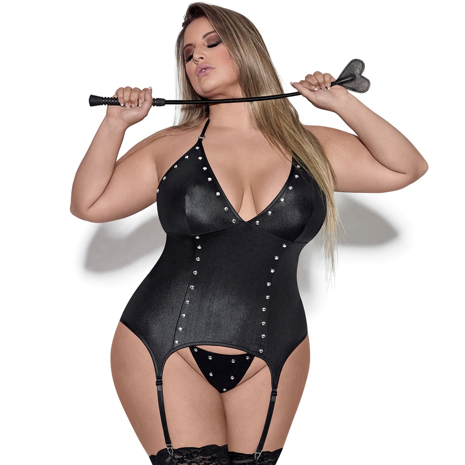 Exposed Lust Plus Size Wet Look Basque and Suspenders Set