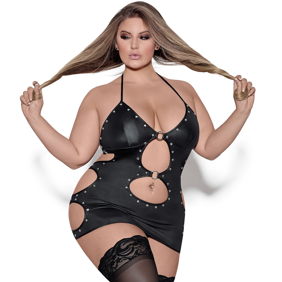 Exposed Lust Plus Size Selene Fetish Wet Look Dress Set