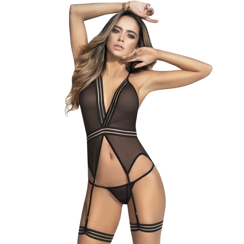 Mapale Black Sheer Merry Widow Bustier Set