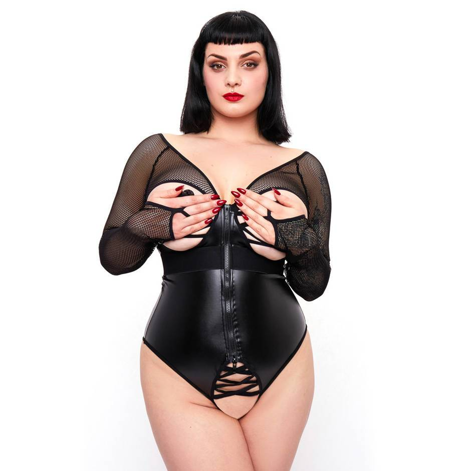 Brand X Plus Size Lucky Break Front-Fastening Wet Look and Fishnet Body