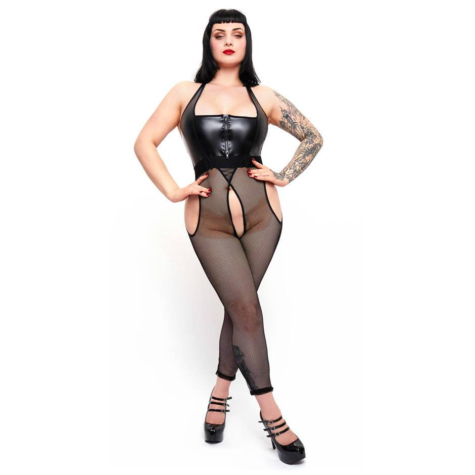 Brand X Plus Size Spotlight Wet Look and Fishnet Bodystocking