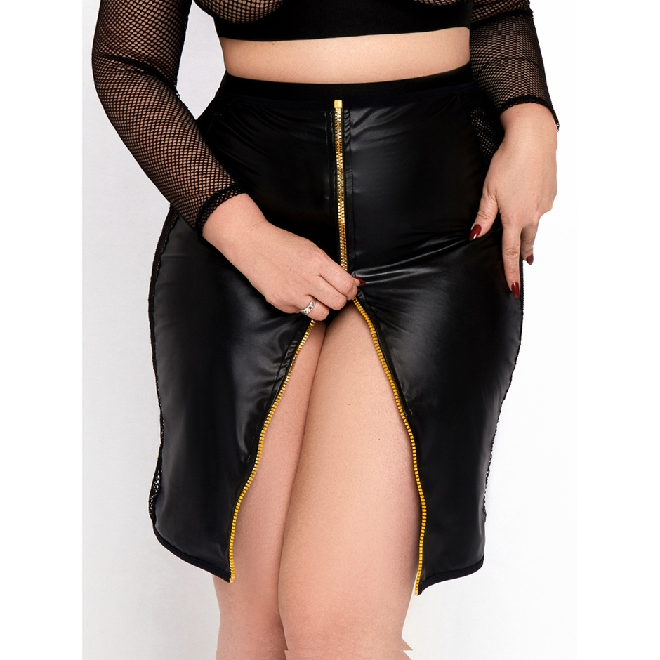 Brand X Double Entry Wet Look and Fishnet Skirt