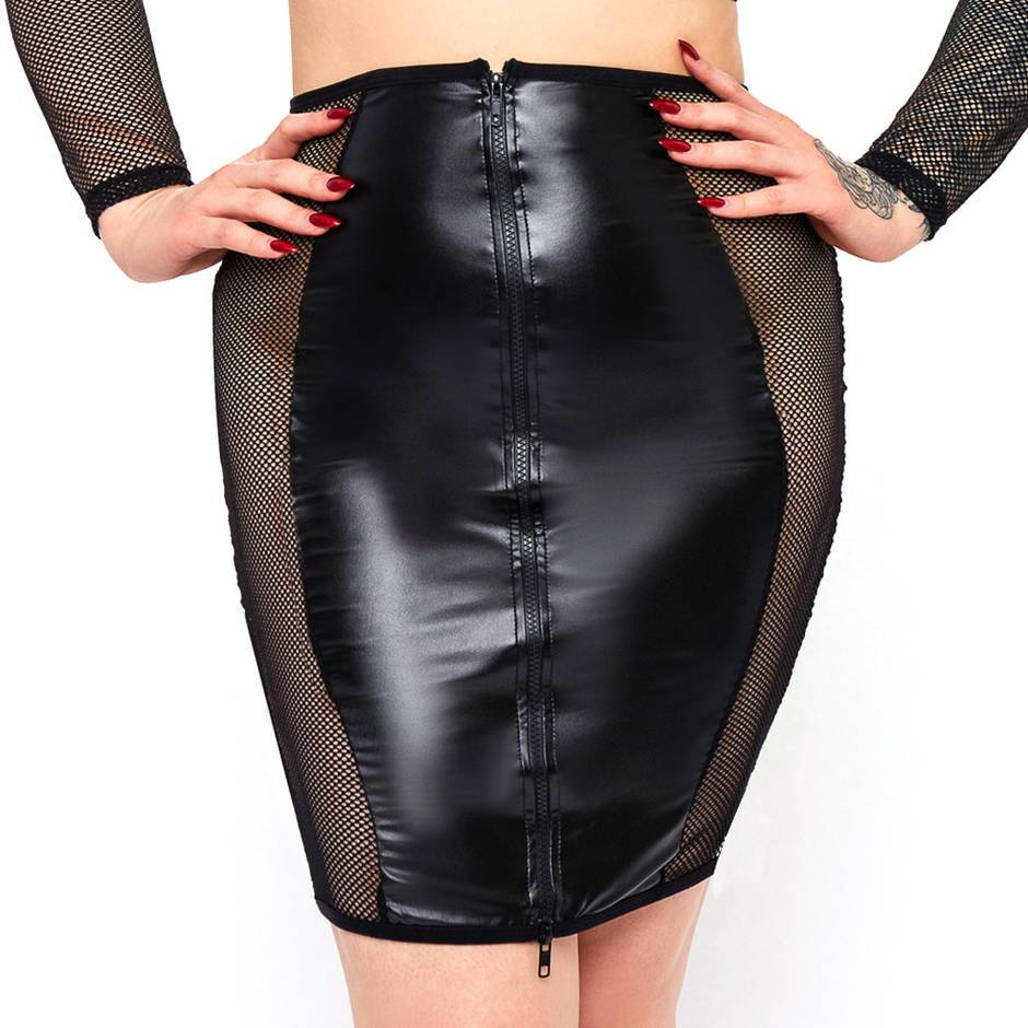 Brand X Plus Size Double Entry Wet Look and Fishnet Skirt