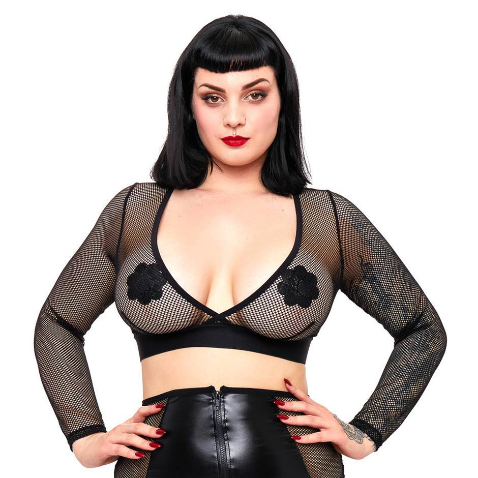 Brand X Plus Size Jaw Dropper Long Sleeve Fishnet Crop Top