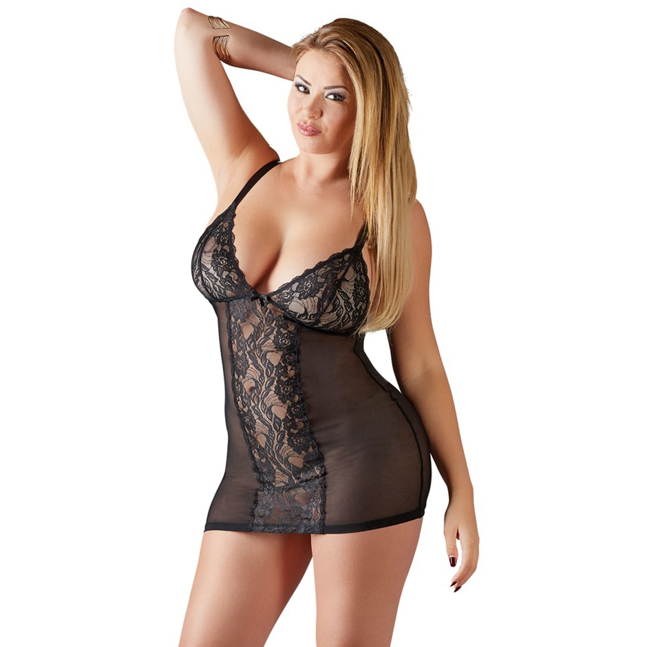 Cottelli Plus Size Black Lace and Mesh Chemise