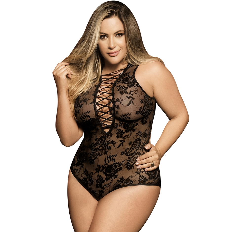 Mapale Plus Size Black Lace-Up Sheer Teddy