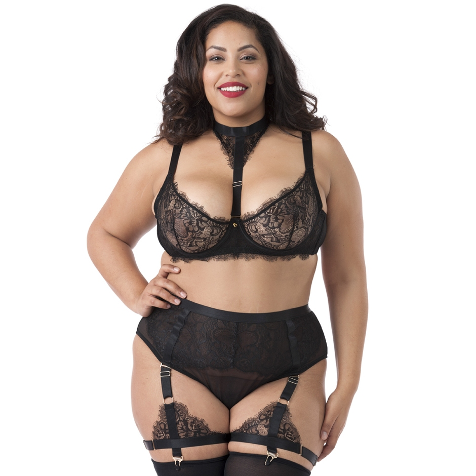 Lovehoney Plus Size Midnight Mirage Black Lace Bra Set