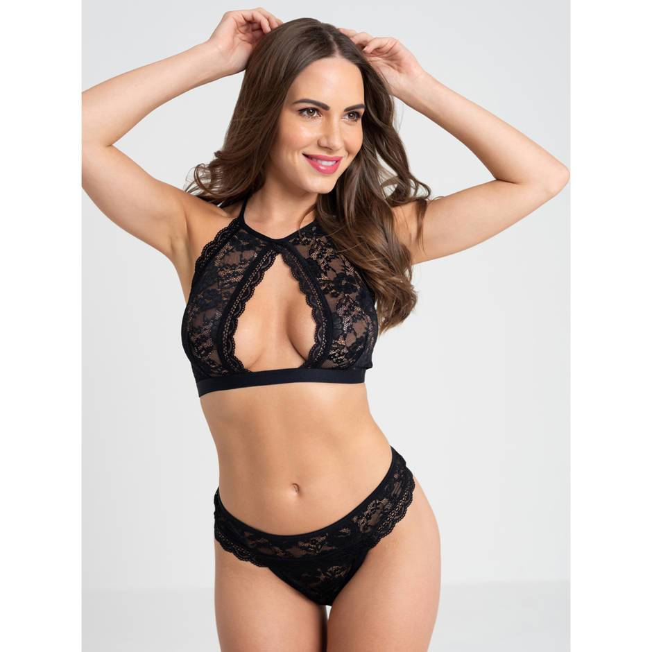 Lovehoney Flirty Black Lace Halterneck Bra Set