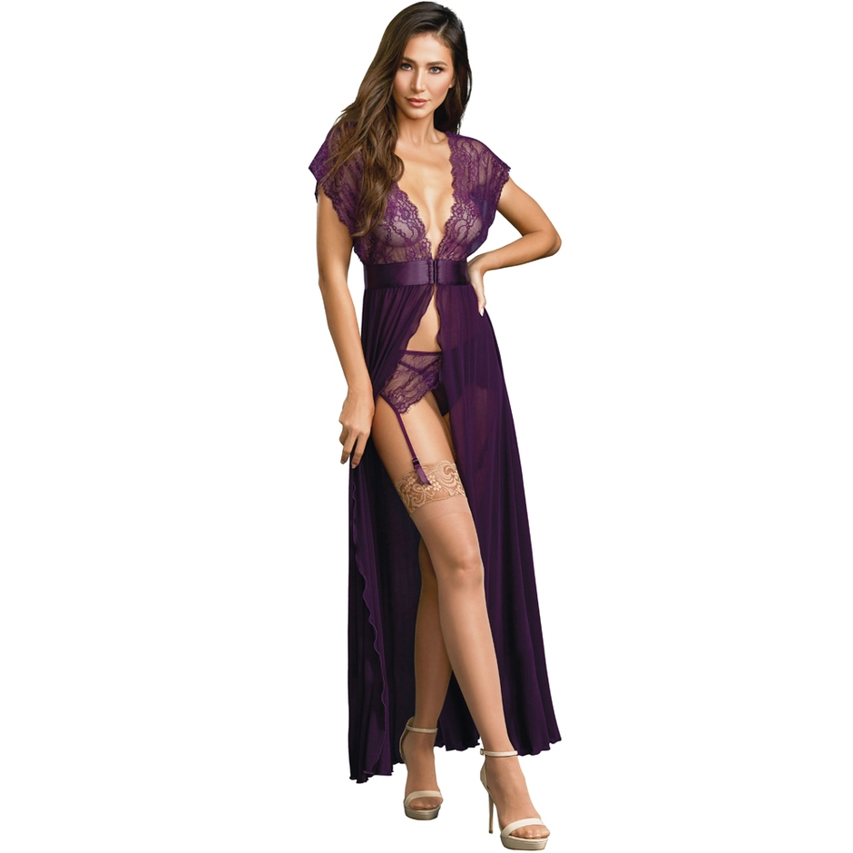 Dreamgirl Purple Long Split Front Gown Set