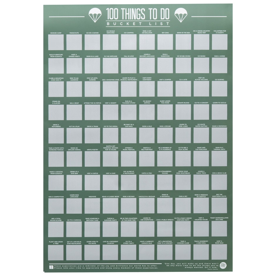100 Things To Do Scratch Off Bucket List Poster