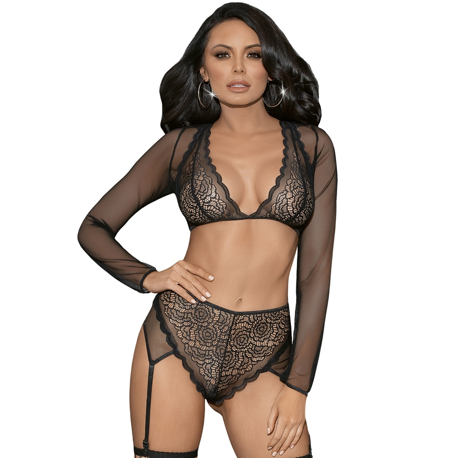 Escante Black Long Sleeve Lace Bra Set