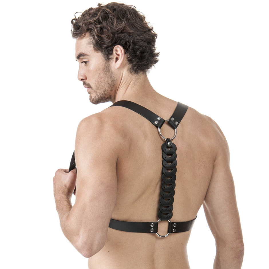 DOMINIX Deluxe Leather Detailed Racer Back Harness