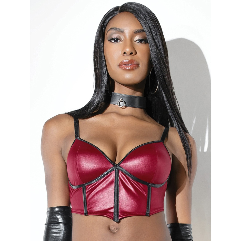 Coquette Red Wet Look Boned Bra