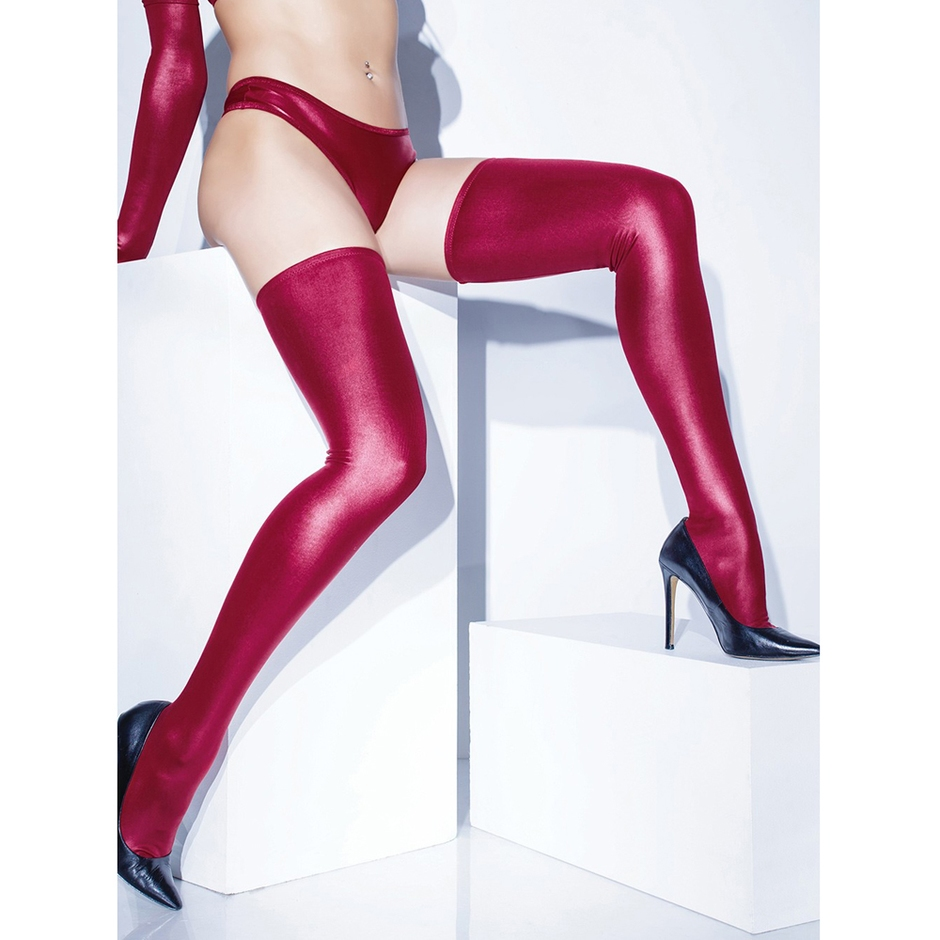 Coquette Red Wet Look Hold-Ups
