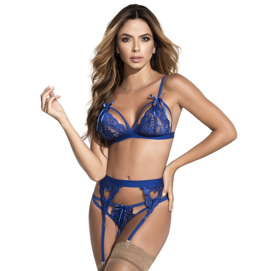 Mapale Sweetheart Royal Blue Lace Bra Set