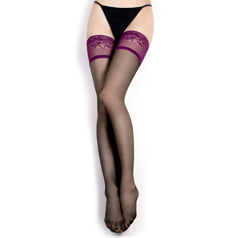 Ballerina Plum Lace Top Back-Seam Hold-Ups