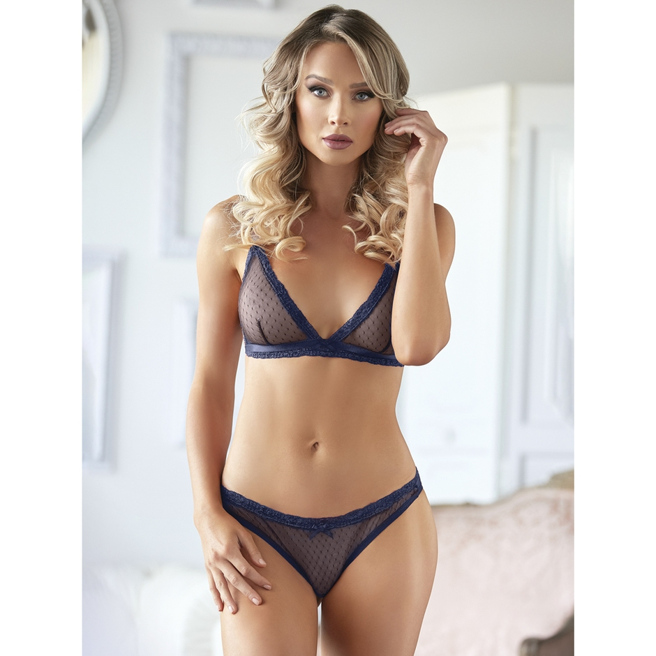 Allure Blue Sheer Lace Bra Set