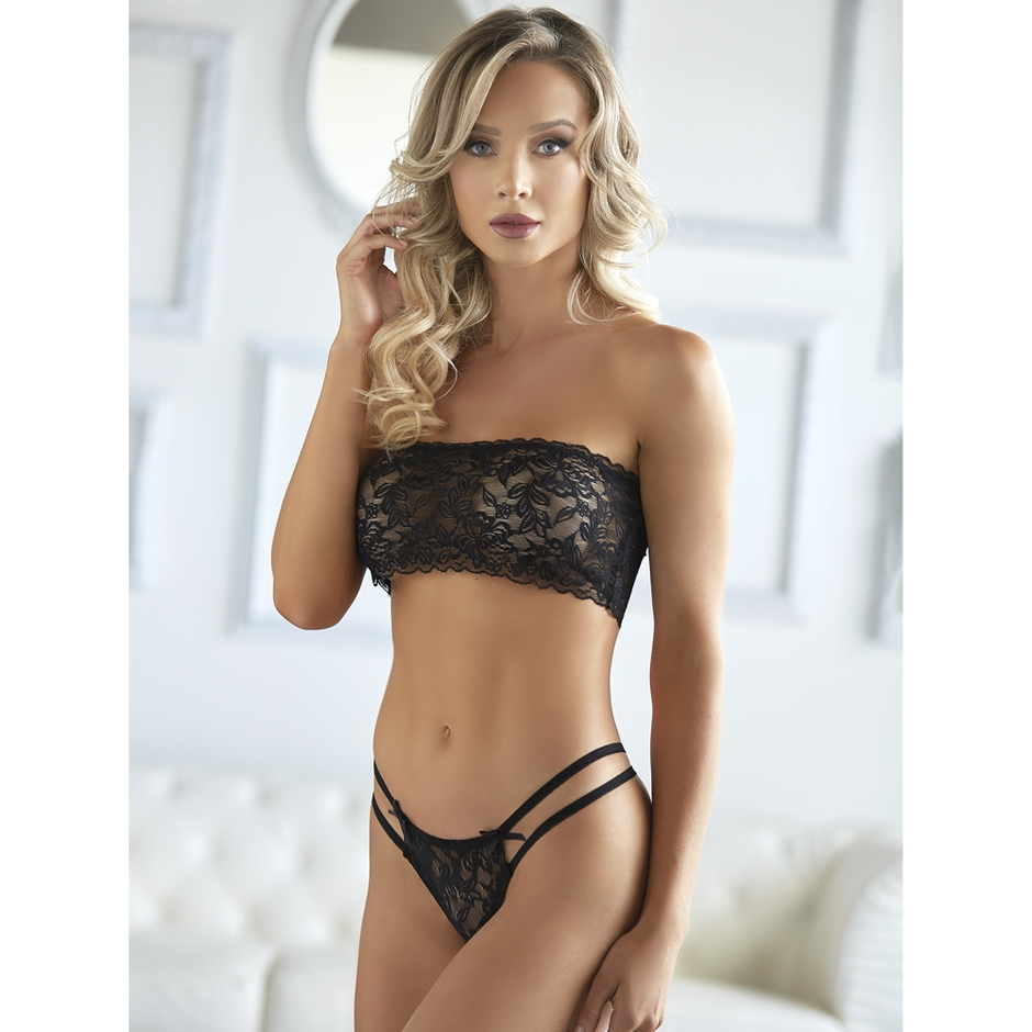 Allure Black Bandeau Lace Bralette Set