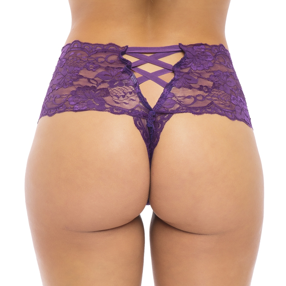 Oh La La Cheri Purple Floral Lace Crotchless Shorts