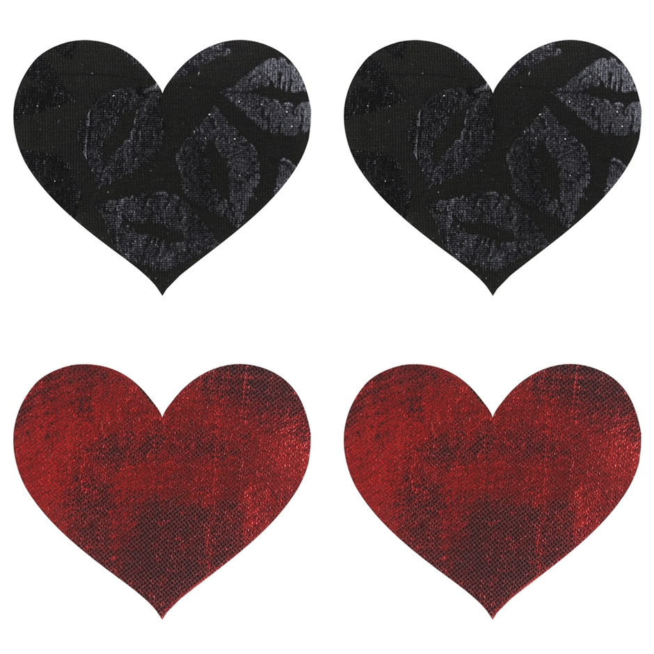 Peekaboos Black and Red Heart Nipple Pasties (2 Pairs)