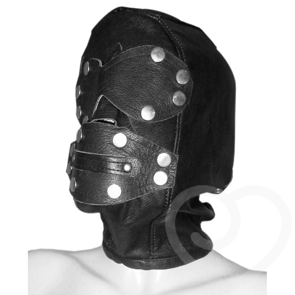Deluxe Leather Full Face Hood with Gag & Blindfold