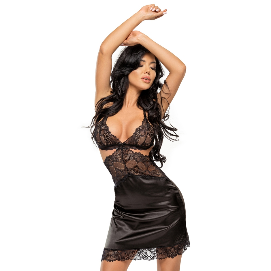 Beauty Night Black Cut-Out Satin Chemise Set
