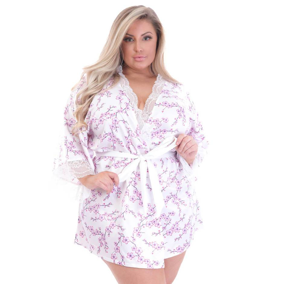 Lovehoney Plus Size Cherry Blossom Ivory Satin Robe