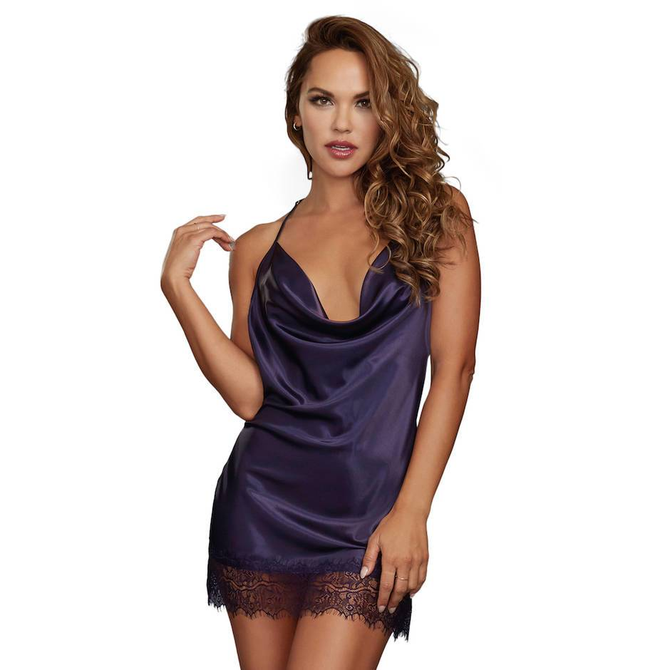 Dreamgirl Silky Cowl Neck Blue Chemise