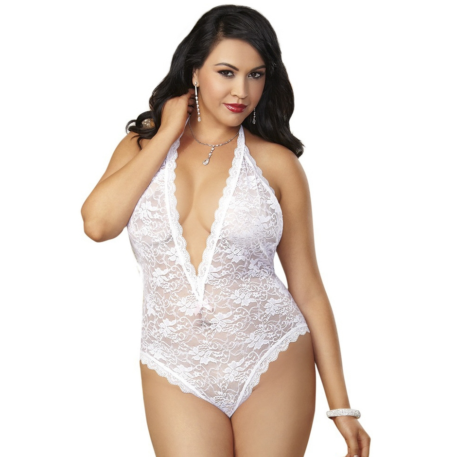 Dreamgirl Plus Size White Lace Halterneck Teddy