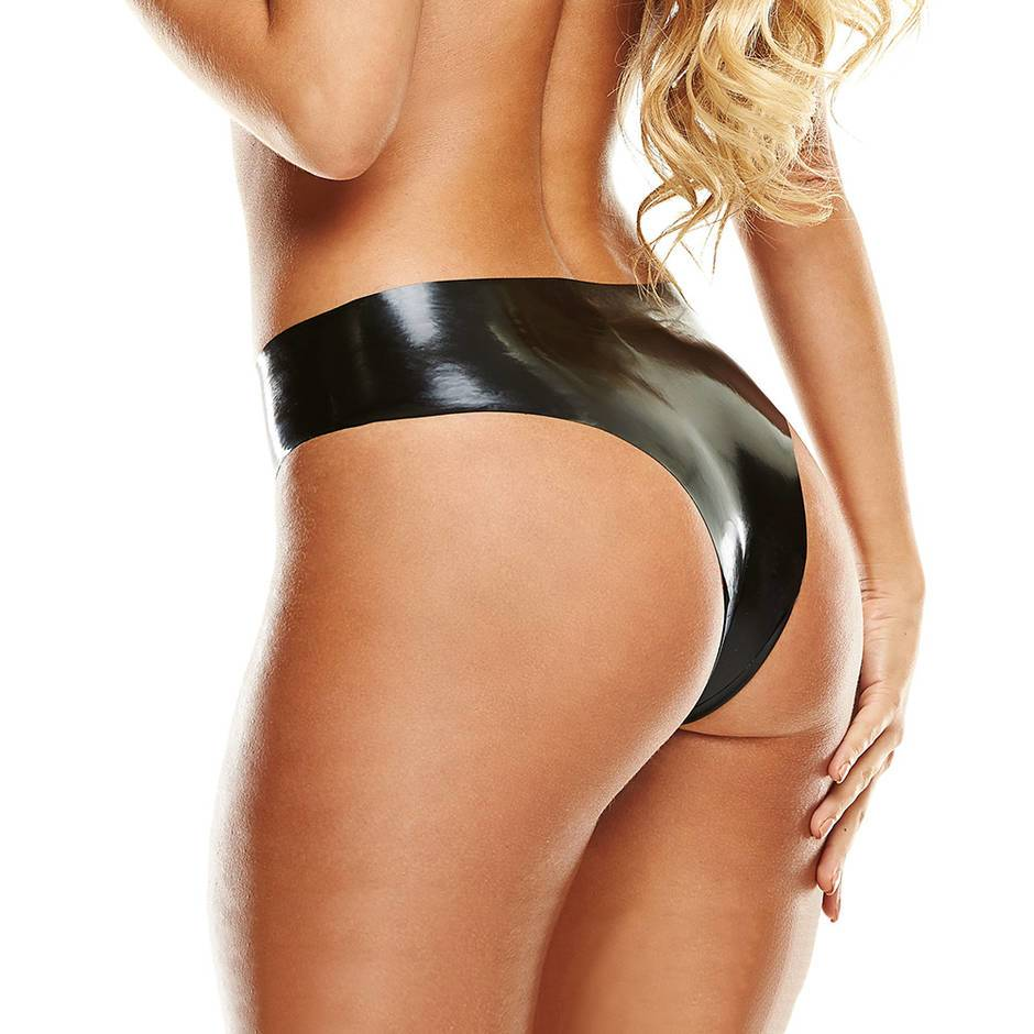 Premium Latex Black Brazilian Knickers