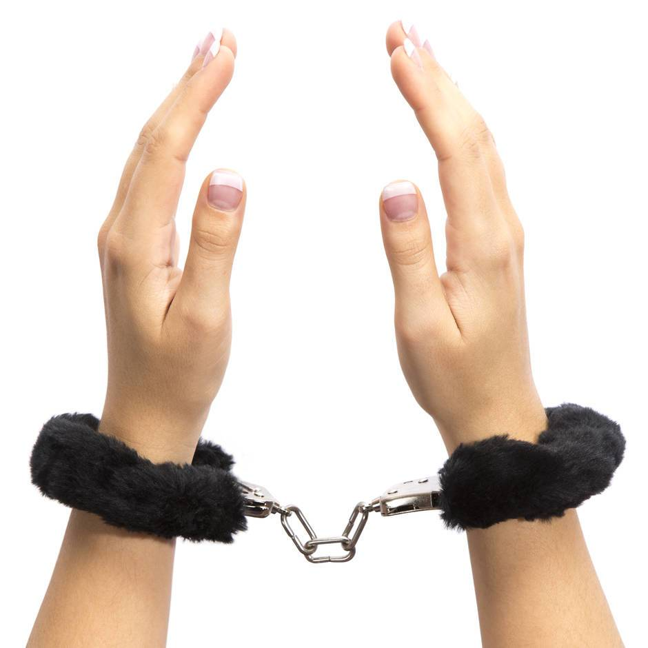 Lovehoney Black Furry Handcuffs
