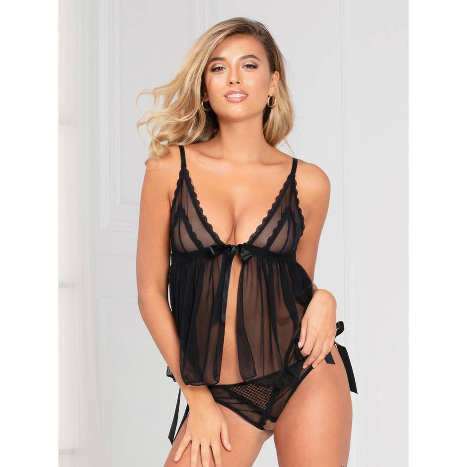 Seven 'til Midnight Black Sheer Flyaway Camisole Set