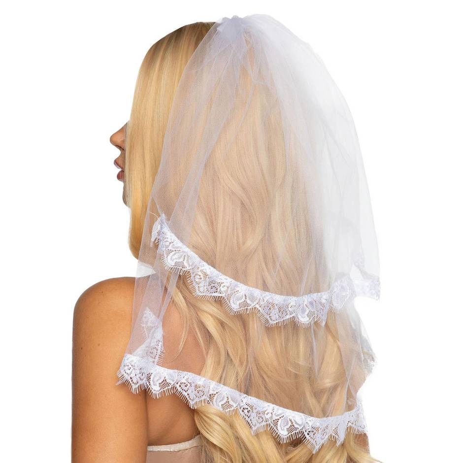 Leg Avenue White Sheer Lace-Trimmed Veil
