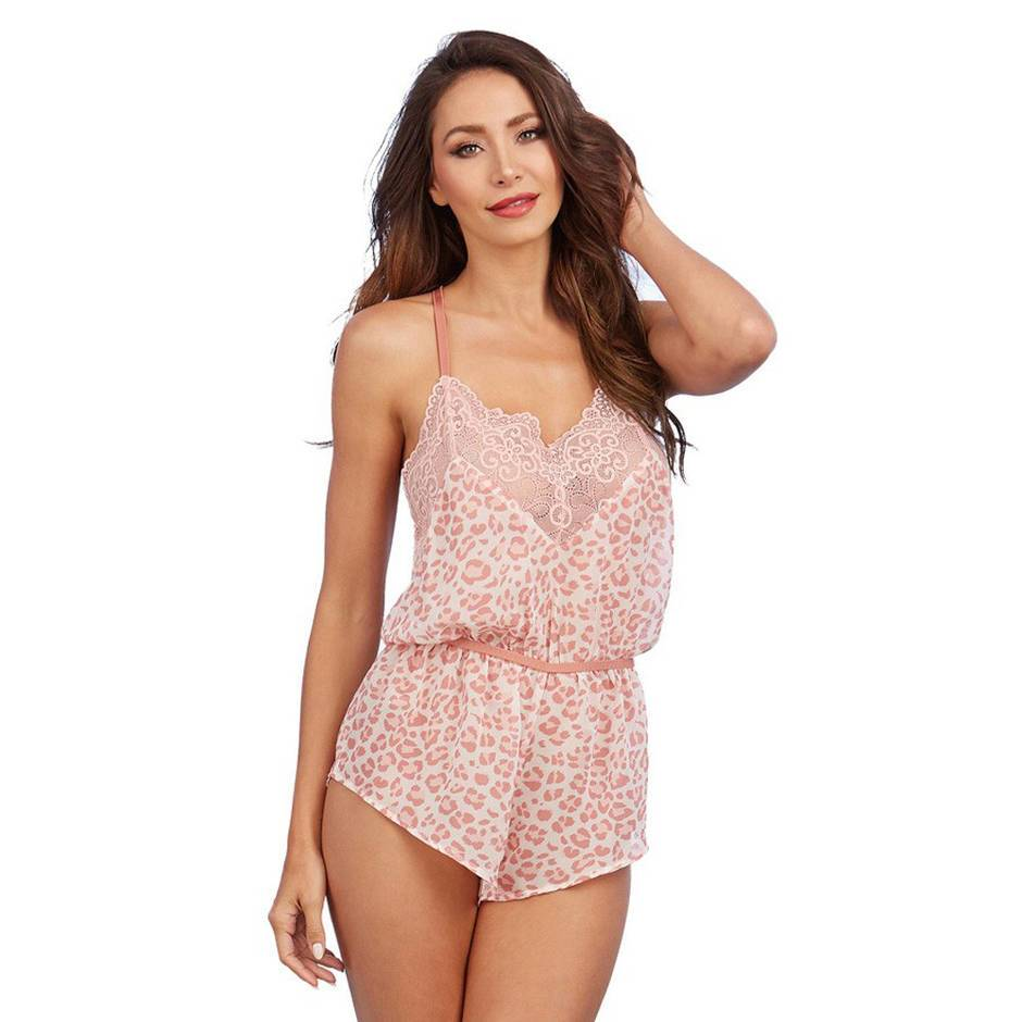 Dreamgirl Pink Leopard Print Lace-Trimmed Teddy