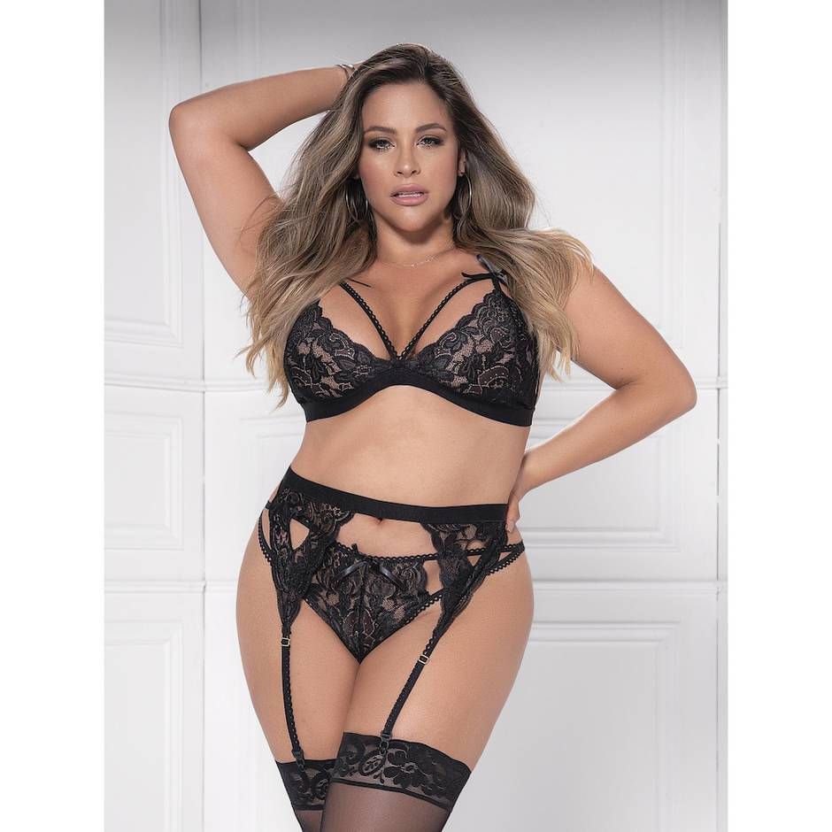 Mapale Plus Size Sweetheart Black Lace Bra Set