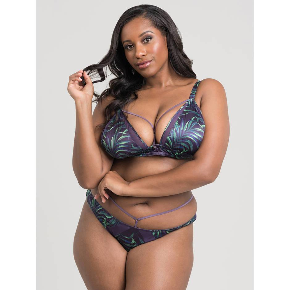 Lovehoney Plus Size Paradise Lust Purple Strappy Bra Set