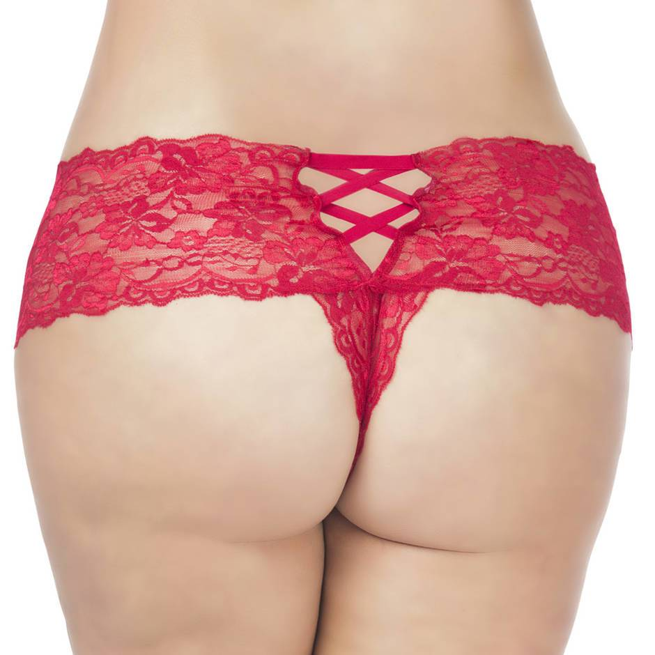 Oh La La Cheri Curves Plus Size Red Lace Crotchless Knickers