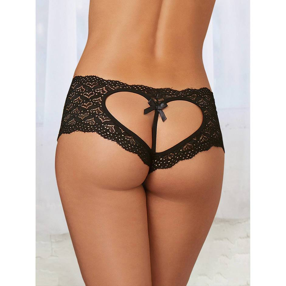 Dreamgirl Black Heart Cut-Out Lace Crotchless Shorts