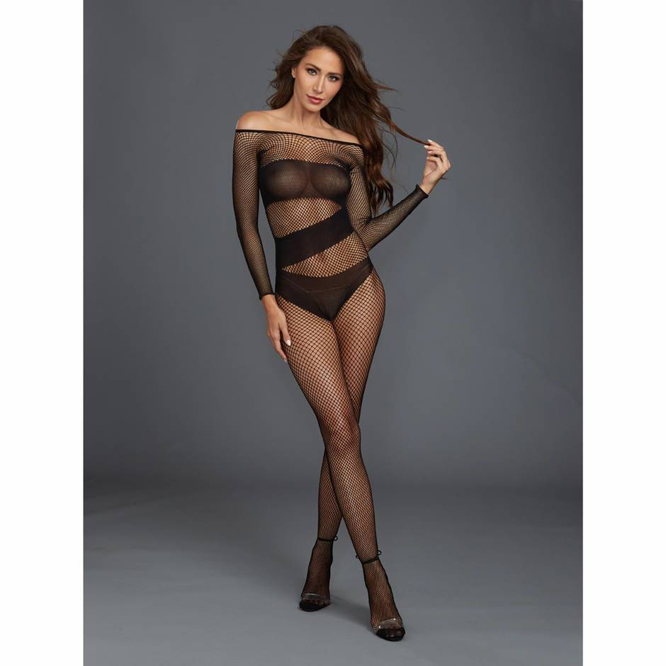 Dreamgirl Black Long Sleeve Fishnet Crotchless Bodystocking