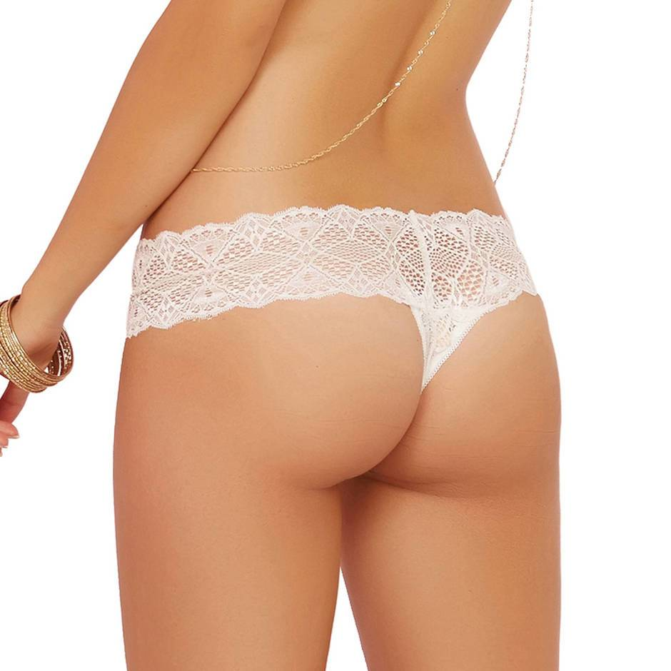Seven 'til Midnight White Crochet Lace Crotchless Thong