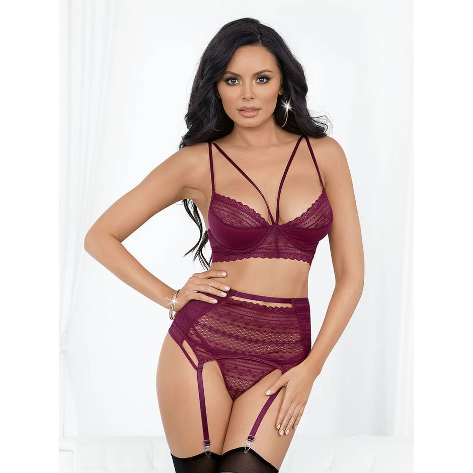 Escante Wine Underwired Lace and Mesh Bra Set