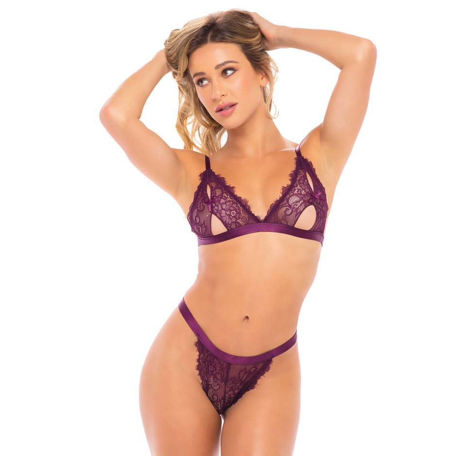 Oh La La Cheri Purple Peek-A-Boo Lace Bra Set