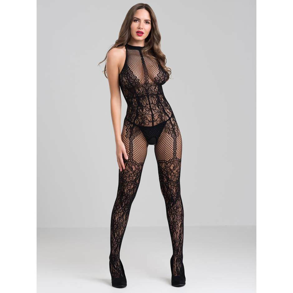 Lovehoney Lace and Fishnet Crotchless Basque Bodystocking