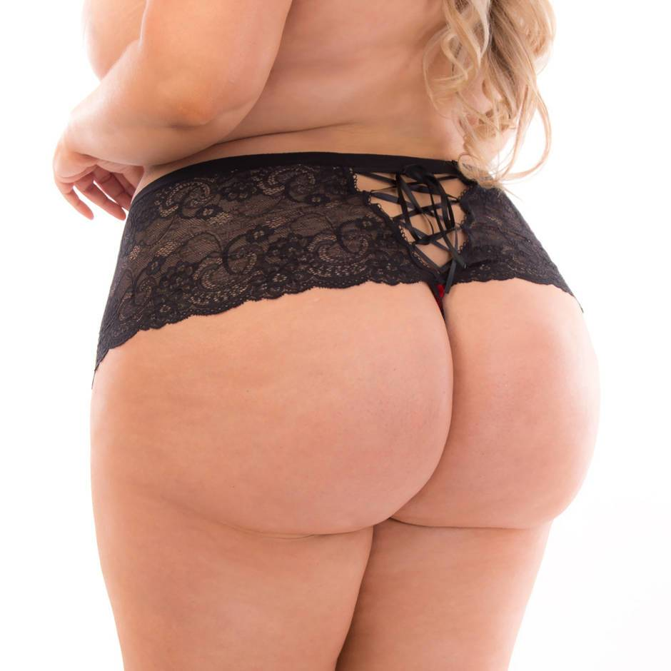 Escante Plus Size Festive Red and Black Lace-Up Thong