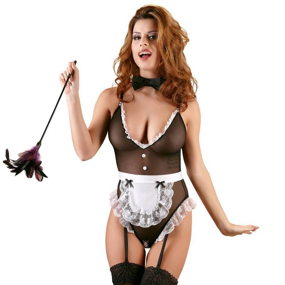 Cottelli French Maid Sheer Crotchless Teddy